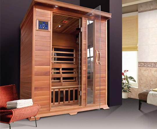 Immagine di Sauna Infrarossi per 3 persone in legno di cedro rosso
