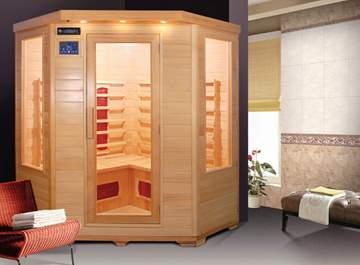 Immagine di Sauna Infrarossi per 4 persone  in legno Hemlock
