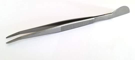 Picture of Pinzetta curva con spatola in acciaio mm. 210