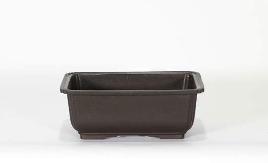 Immagine di Vaso rettangolare per Piante e Bonsai in plastica nera cm. 18