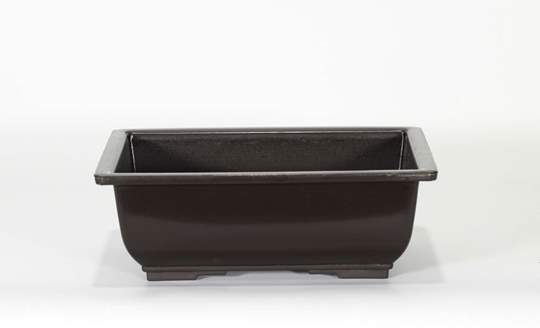 Immagine di Vaso rettangolare per Piante e Bonsai in plastica nera cm. 20