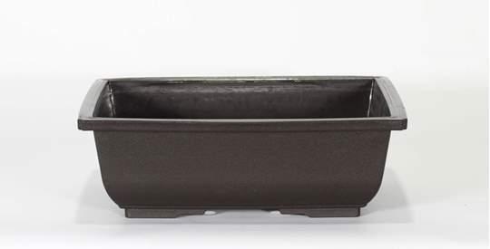 Immagine di Vaso rettangolare per Piante e Bonsai in plastica nera cm. 23