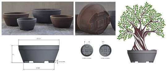Immagine di Vaso tondo in resina ERCOLE diam. 90 cm.